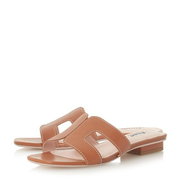 mules Dune leather block heel 'Loupe' Tan qggrnWX
