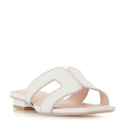 Dune   White 'loupe' Mules by Dune