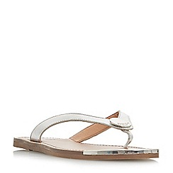 Dune - Silver leather 'Lagos' t-bar sandals