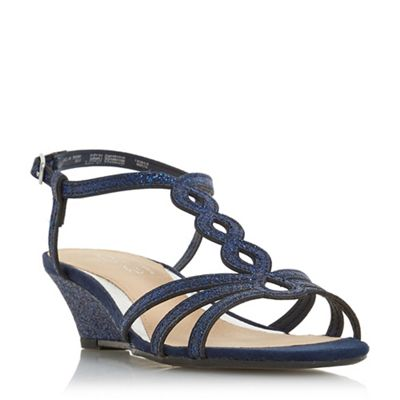 Head Over Heels by Dune - Navy glitter 'Kammy' wedge heel ankle strap sandals