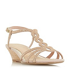 Head Over Heels by Dune - Pink glitter 'Kammy' wedge heel ankle strap sandals