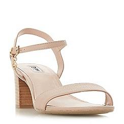Dune - Natural leather 'Jiggle' block heel ankle strap sandals