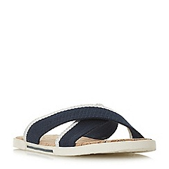 Dune - Navy 'Isco' cross strap cork footbed slider