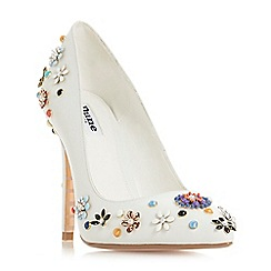 Dune - White leather 'Booquet' high stiletto heel court shoes