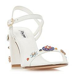 Dune - White suede 'Moonflower' mid block heel ankle strap sandals