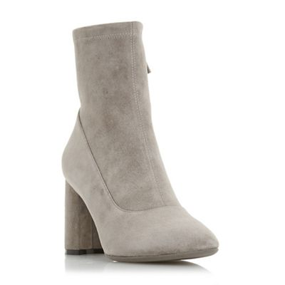 Dune Black - Taupe suede 'Oslowh' mid block heel ankle boots