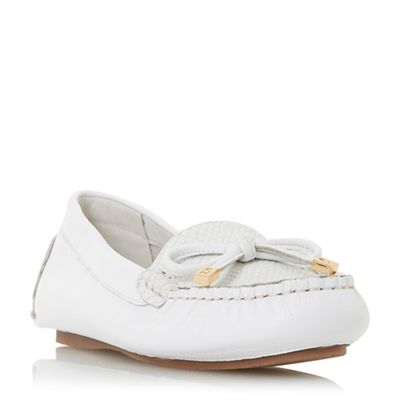 Dune - White leather 'Geenova' loafers