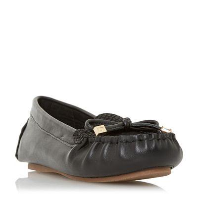 Dune - Black leather 'Geenova' loafers