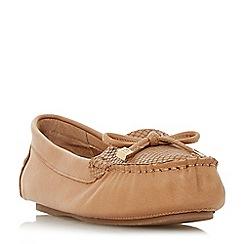 Dune - Tan leather 'Geenova' loafers
