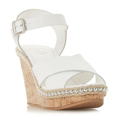 Dune - White leather 'Karena' high wedge heel espadrilles