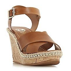 Dune - Tan leather 'Karena' high wedge heel espadrilles