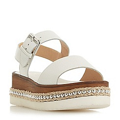 Dune - White leather 'Kool' wedge heel ankle strap sandals