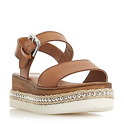 Dune - Tan leather 'Kool' wedge heel ankle strap sandals