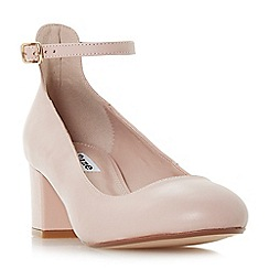 Dune - Light pink leather 'Allie' mid block heel court shoes