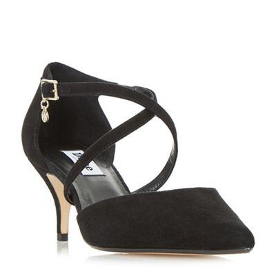 Dune kitten - Black suede 'Courtnee' kitten Dune heel court shoes 16832c