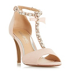 Head Over Heels by Dune - Natural 'Mercedes' high stiletto heel t-bar sandals