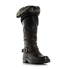 Dune - Black leather 'Torie' knee high boots