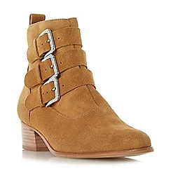 Dune - Tan suede 'Polo' mid block heel ankle boots