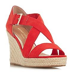 Head Over Heels by Dune - Red 'Kissimo' high wedge heel espadrilles