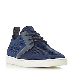 Dune - Navy 'Terminal' knitted lace up trainers