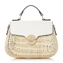 Dune - White 'Doannee' medium basket woven handbag