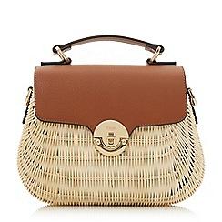 Dune - Tan 'Doannee' medium basket woven handbag