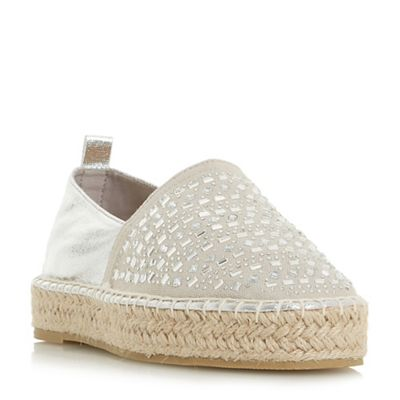 Head Over Heels by Dune - Silver 'Giina' espadrilles