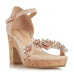 Head Over Heels by Dune - Natural 'Jamiee' high wedge heel ankle strap sandals