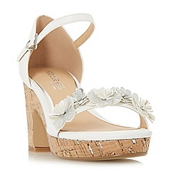 Head Over Heels by Dune - White 'Jamiee' high wedge heel ankle strap sandals