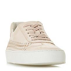 Dune - Light pink leather 'Elurru' lace up trainers