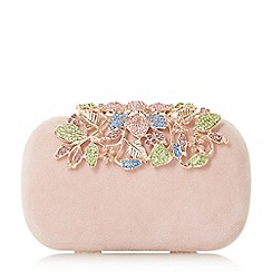 Dune - Light pink 'Bemberrs' embellished clasp clutch bag