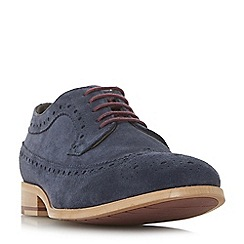 Dune - Navy 'Brooking' punch hole wingtip suede brogues