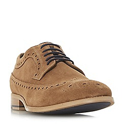 Dune - Tan 'Brooking' punch hole wingtip suede brogues
