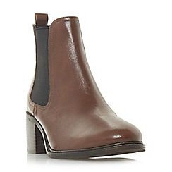 Dune - Dark tan leather 'Paramoor' mid block heel chelsea boots