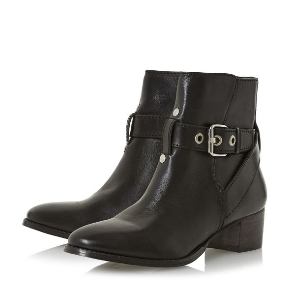 block leather heel ankle boots mid Black 'Perrie' Dune xAOpFn