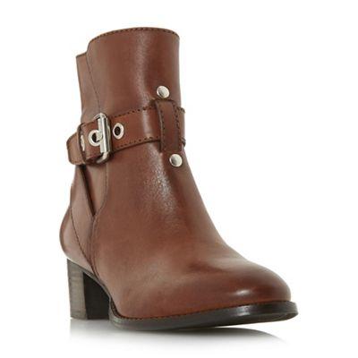 Dune - Dark tan leather 'Perrie' mid block heel ankle boots