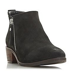 Dune - Black leather 'Putnam' block heel ankle boots