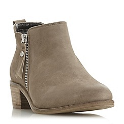 Dune - Natural leather 'Putnam' block heel ankle boots