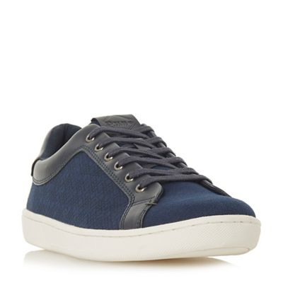Dune - Navy 'Tevez' fabric upper trainers