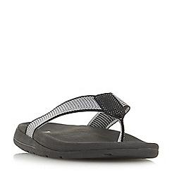 Dune - Black 'Hopkinss' knit t-bar toe post flip flop