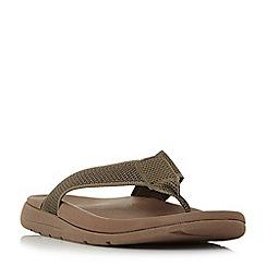 Dune - Khaki 'Hopkinss' knit t-bar toe post flip flop