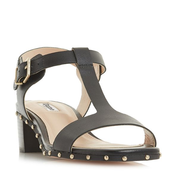 'Isadora' block t sandals bar Black heel mid Dune leather zWp7qHE