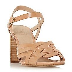 Dune - Tan leather 'Immigen' mid block heel ankle strap sandals