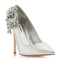 Dune - Silver leather 'Belelflower' high stiletto heel court shoes