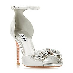 Dune - Silver leather 'Meadowe' high stiletto heel ankle strap sandals