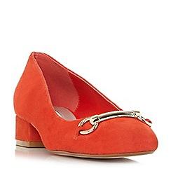 Dune - Orange suede 'Apricot' block heel pumps
