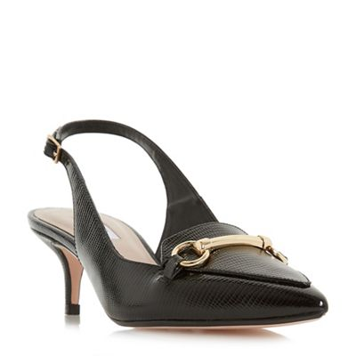 Dune - Black leather 'Chile' stiletto heel court shoes