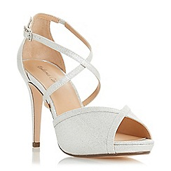 Roland Cartier - Silver 'Minnie' high stiletto heel peep toe sandals