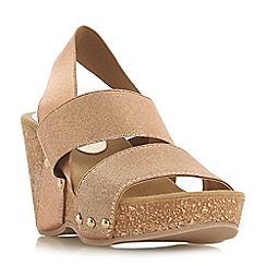 Dune - Rose_gold 'Kassii' high wedge heel mules