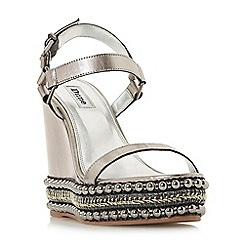 Dune - Silver leather 'Kibble' high wedge heel ankle strap sandals